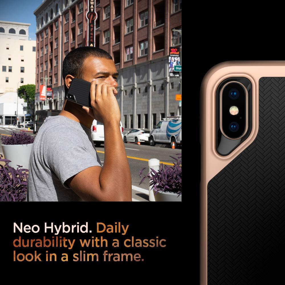 Spigen® Neo Hybrid™ 063CS25328 iPhone XS / X Case - Blush Gold