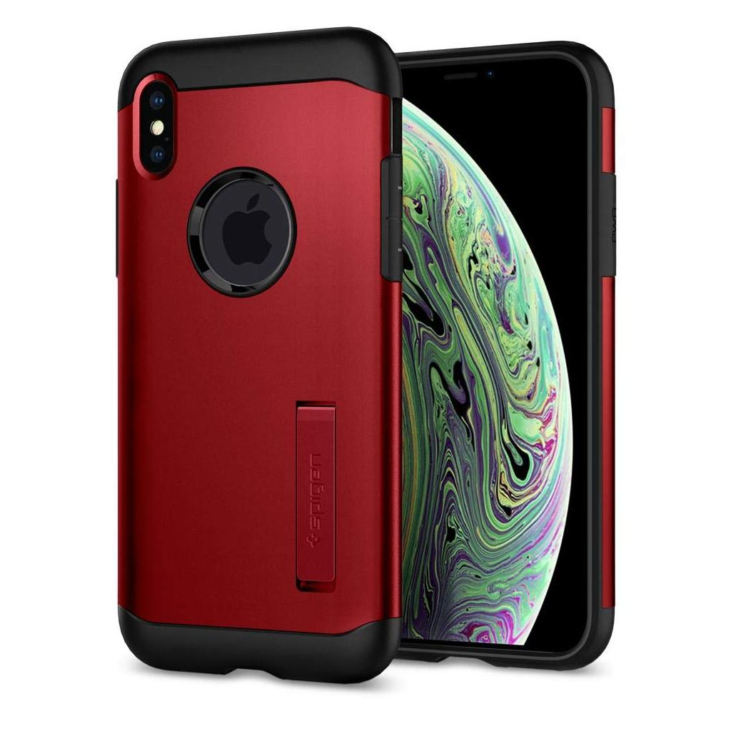 Spigen® Slim Armor™ 063CS25138 iPhone XS / X Case - Merlot Red