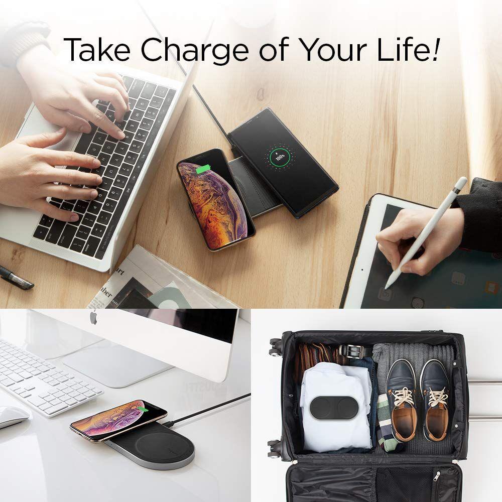 Spigen® Essential® F310W 000CH24976 Dual Qi Fast Wireless Charger - Aluminium
