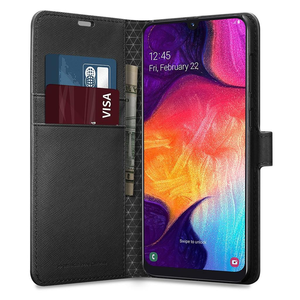 Spigen® Wallet S™ 611CS26267 Samsung Galaxy A50 Case - Saffiano Black