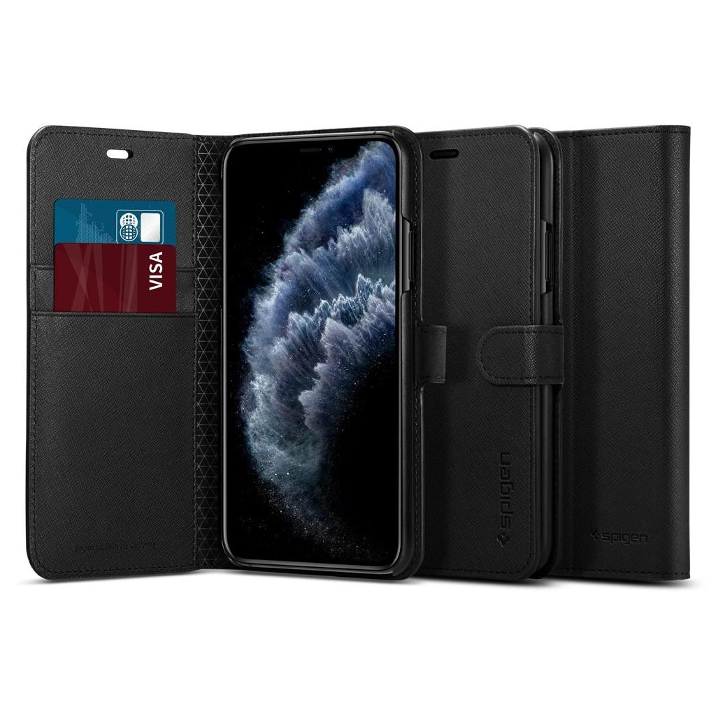 Spigen® Wallet S™ 075CS27149 iPhone 11 Pro Max Case - Saffiano Black