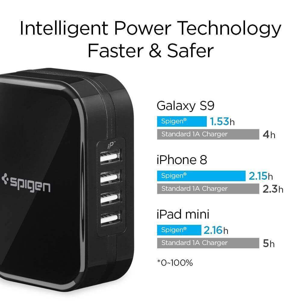 Spigen® Essential F401 000AD23962 4xUSB Wall Charger - Black