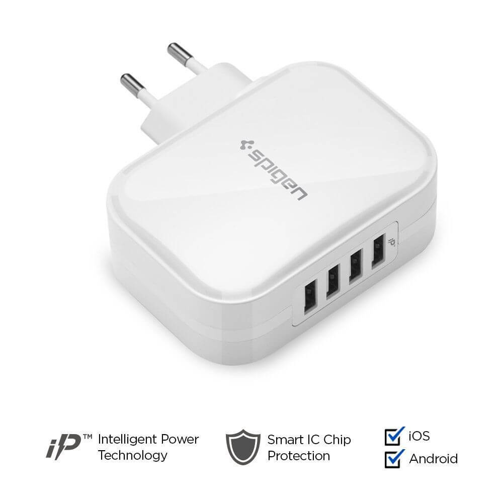 Spigen® Essential F401 000AD23963 4xUSB Wall Charger - White