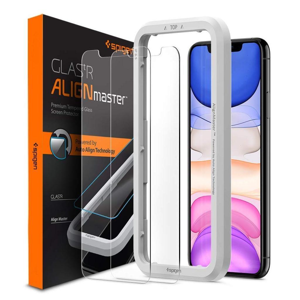 Spigen® (x2Pack) GLAS.tR ALIGNmaster™ AGL00101 iPhone 11 / XR Premium Tempered Glass Screen Protector