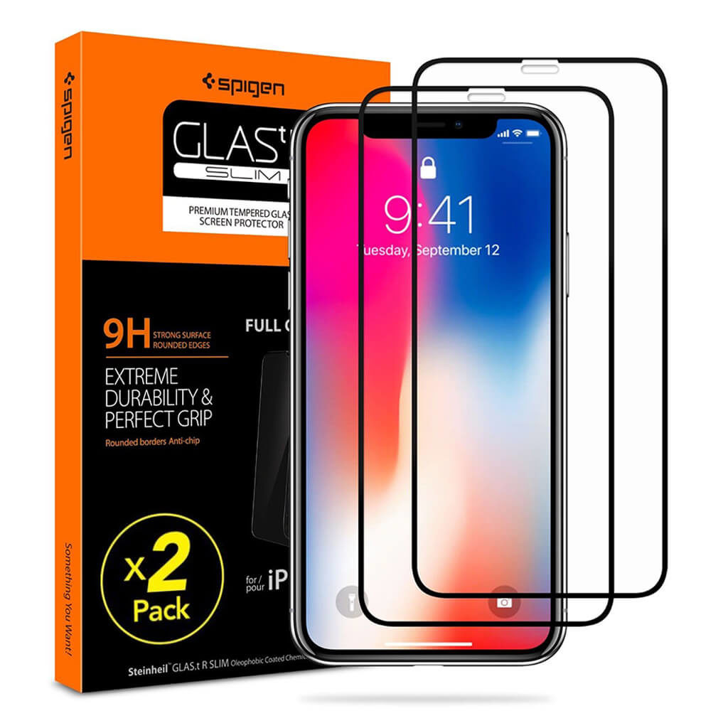 Spigen® (x2Pack) GLAS.tR™ Full Cover HD 057GL23120 iPhone 11 Pro / XS / X Premium Tempered Glass Screen Protector