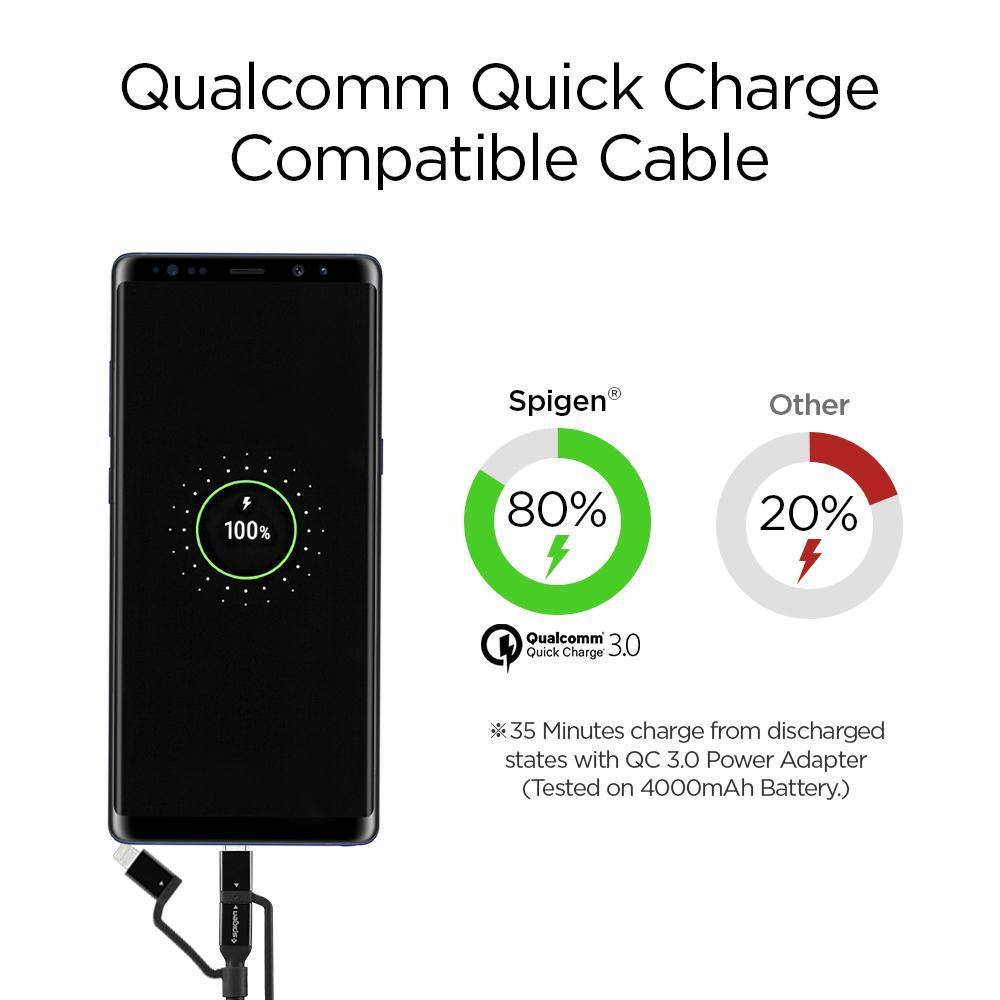 Spigen® C10i3 000CB22774 Qualcomm® Quick Charge 3.0 Lightning / Type-C / Micro USB Sync Data & Charging Cable – Black