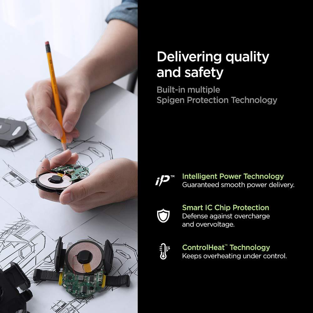 Spigen® F30QC 000CP25596 Qualcomm Quick Charge 3.0 Built-in USB-C Car Charger - Black