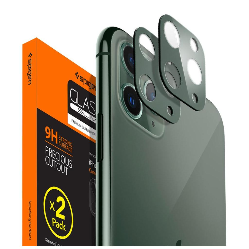 Spigen® x2Pack GLAS.tR™ AGL00501 iPhone 11 Pro Max / 11 Pro Full Cover Premium Tempered Glass Camera Lens Screen Protector - Midnight Green