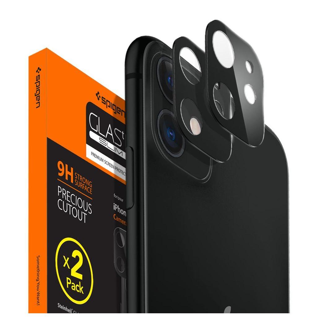 Spigen® x2Pack GLAS.tR™ AGL00506 iPhone 11 Full Cover Premium Tempered Glass Camera Lens Screen Protector – Black