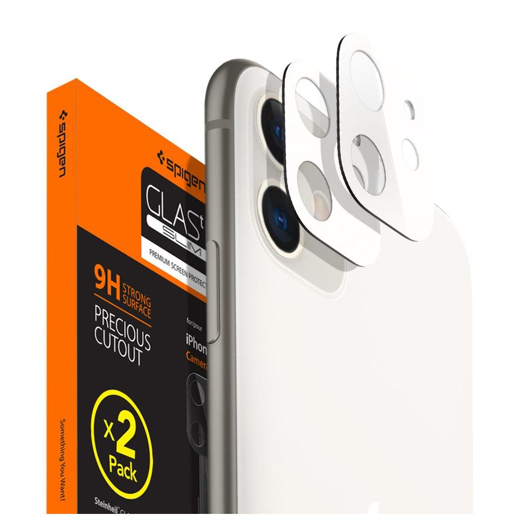 Spigen® x2Pack GLAS.tR™ AGL00507 iPhone 11 Full Cover Premium Tempered Glass Camera Lens Screen Protector – White