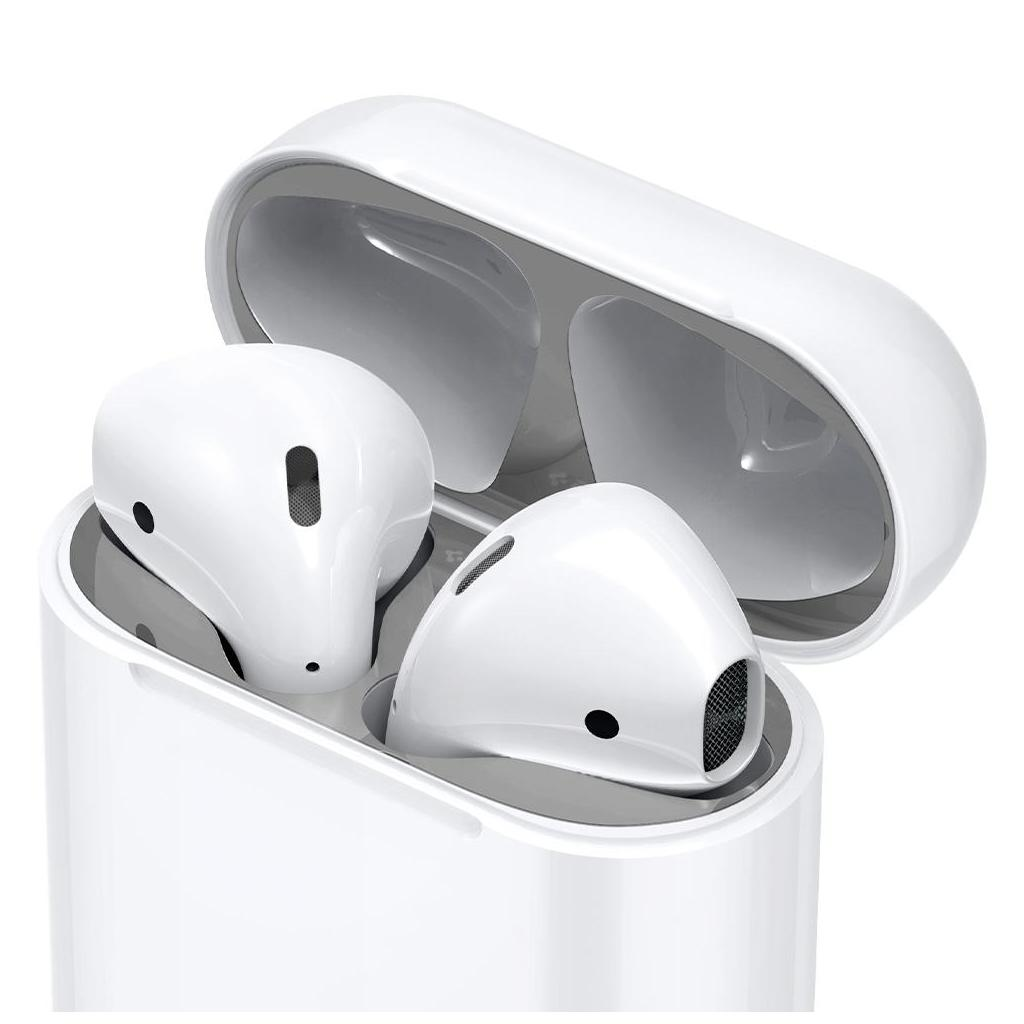 Spigen® Shine Shield ASD00213 Apple Airpods Metal Layer Stickers - Metallic Silver