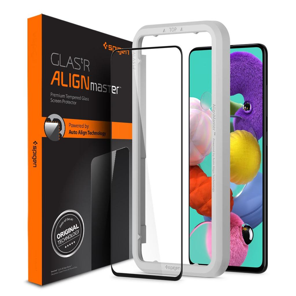 Spigen® GLAS.tR ALIGNmaster™ Full Cover AGL01051 Samsung Galaxy A51 Premium Tempered Glass Screen Protector