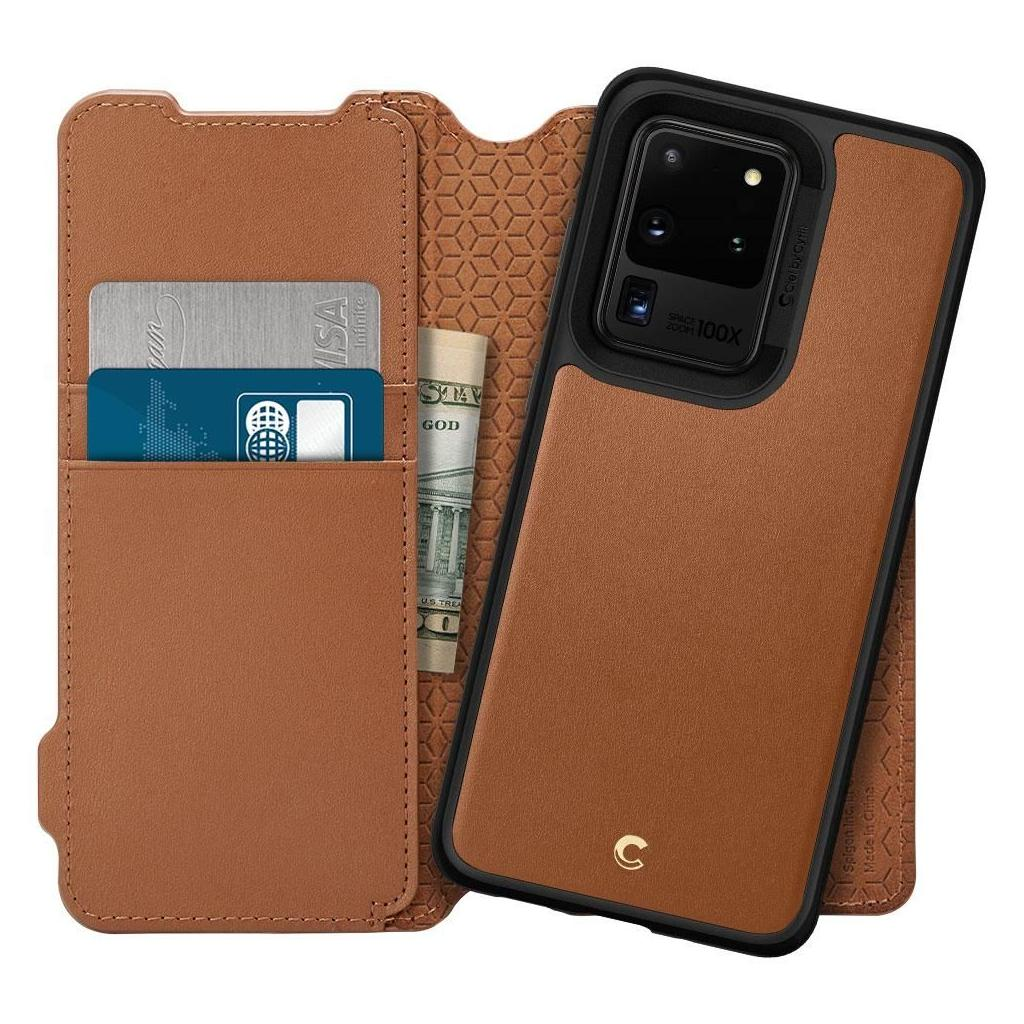Spigen® Ciel by Cyrill Wallet Brick Collection ACS00733 Samsung Galaxy S20 Ultra Case - Saddle Brown