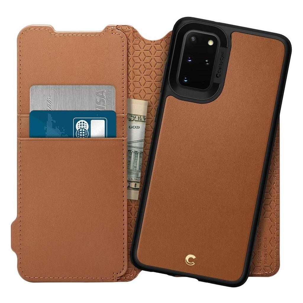 Spigen® Ciel by Cyrill Wallet Brick Collection ACS00774 Samsung Galaxy S20+ Plus Case - Saddle Brown