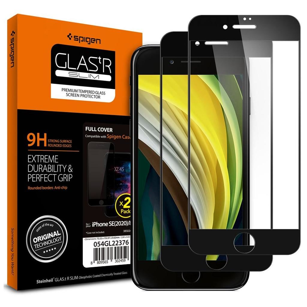 Spigen® (x2Pack) GLAS.tR™ Full Cover AGL01315 iPhone SE (2020) / 8 / 7 Premium Tempered Glass Screen Protector