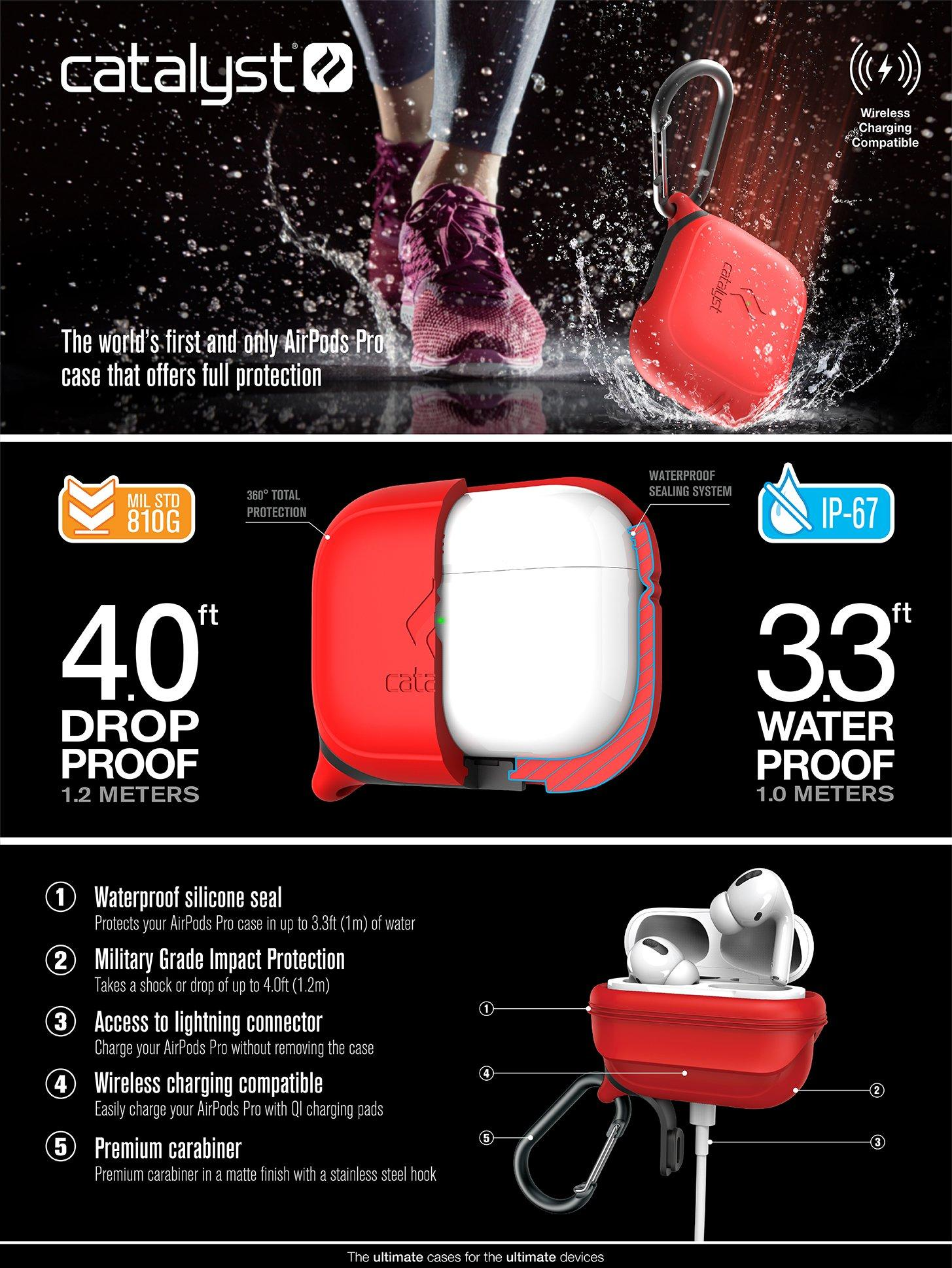 Catalyst Waterproof Apple AirPods Pro Case - Flame Red