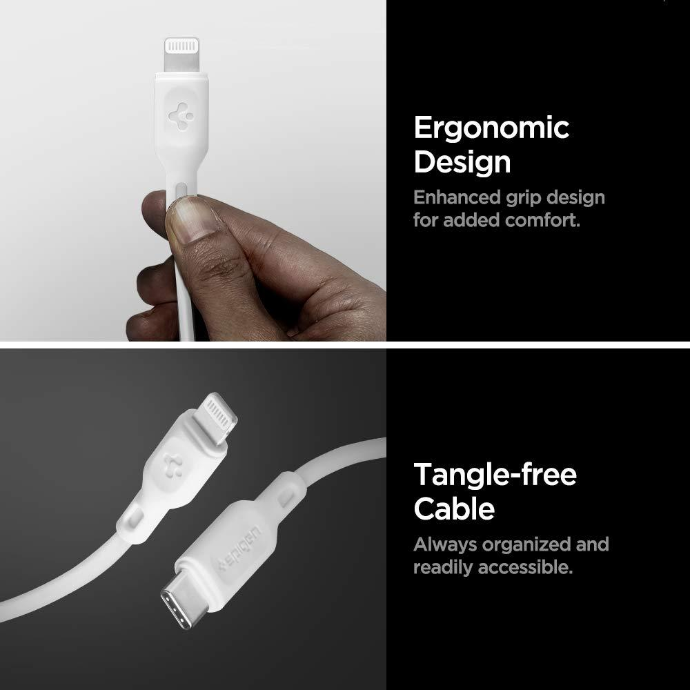 Spigen® C10CL 000CA25416 Apple MFI Certified DuraSync USB-C to Lightning Fast Charging 1.0m Cable - White