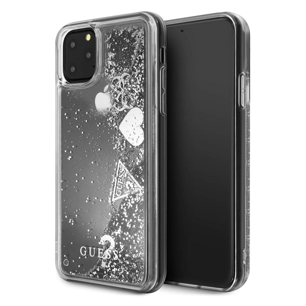 Guess® Hearts Glitter Collection iPhone 11 Pro Max Case - Silver