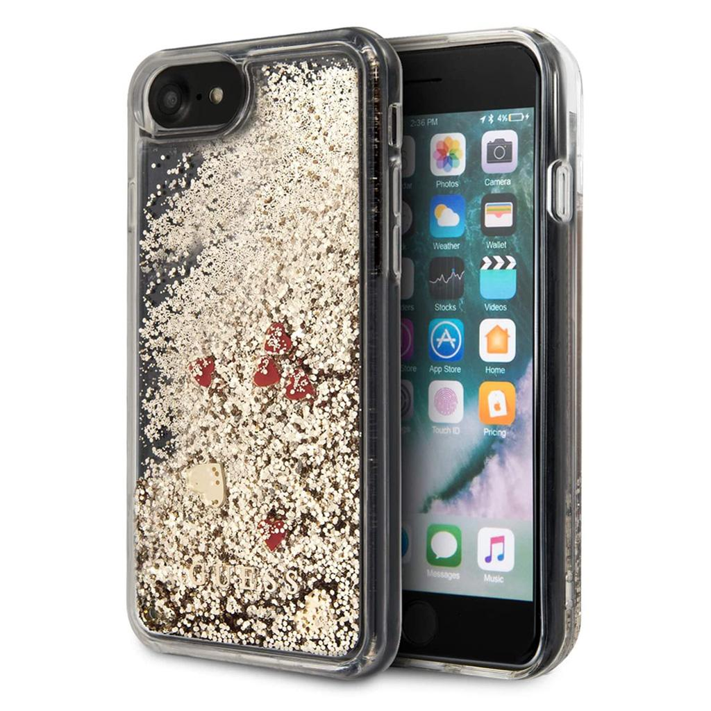 Guess® Hearts Glitter Collection iPhone SE (2020) / 8 / 7 Case - Gold