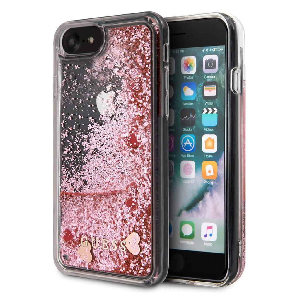 Guess® Hearts Glitter Collection iPhone SE (2020) / 8 / 7 Case - Pink