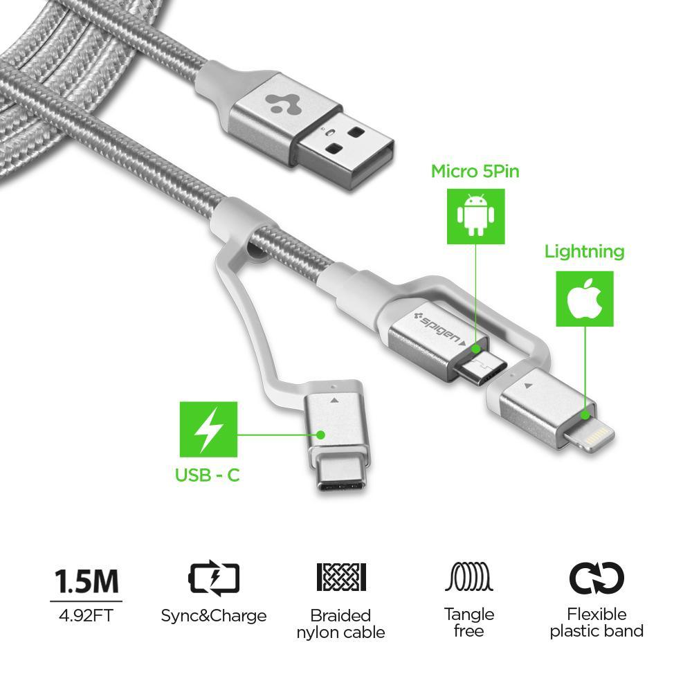 Spigen® C10i3 000CB23017 Qualcomm® Quick Charge 3.0 Lightning / Type-C / Micro USB Sync Data & Charging 1.5m Cable – Silver