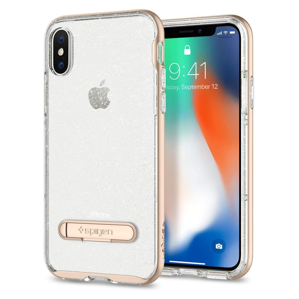 Spigen® Crystal Hybrid™ Glitter 057CS22149 iPhone X Case - Gold Quartz