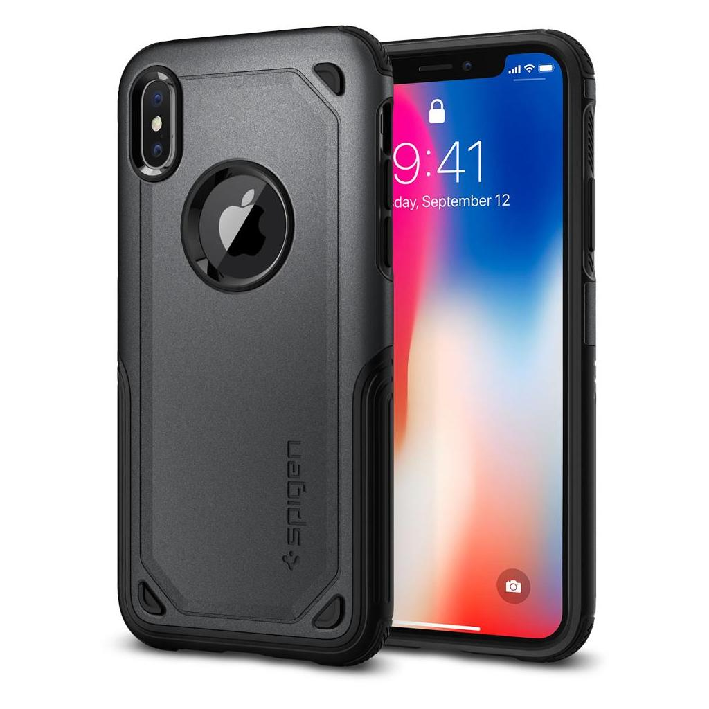 Spigen® Hybrid Armor™ 057CS23346 iPhone X Case - Graphite Gray