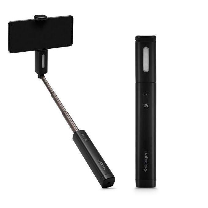 Spigen® S550W Angel Ring 000MP26412 Led Selfie Stick - Midnight Black