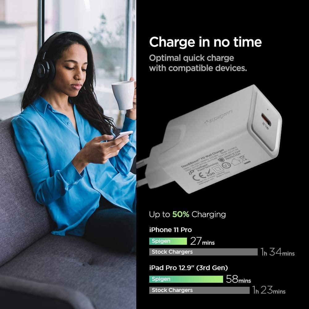 Spigen® Steadiboost™ F210(EU) 000CA26477 27W USB-C Power Delivery 3.0 Wall Charger - White