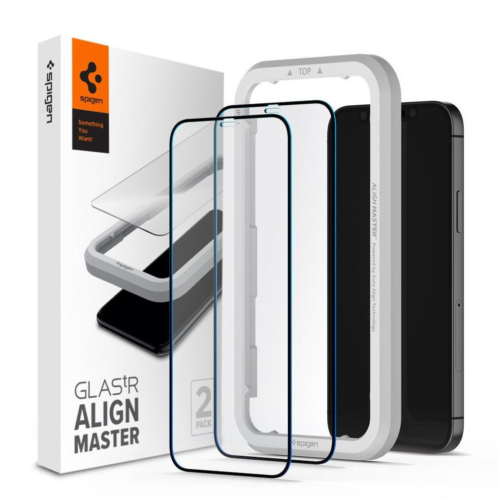 Spigen® x2Pack GLAS.tR™ ALIGNmaster™ Full Cover HD AGL01812 iPhone 12 Mini Premium Tempered Glass Screen Protector