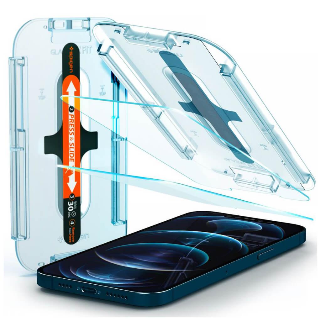 Spigen® x2Pack GLAS.tR™ EZ FIT™ HD AGL01791 iPhone 12 Pro Max Premium Tempered Glass Screen Protector
