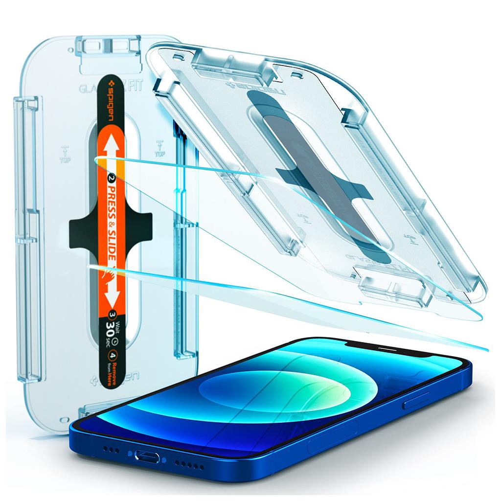 Spigen® x2Pack GLAS.tR™ EZ FIT™ HD AGL01801 iPhone 12 / 12 Pro Premium Tempered Glass Screen Protector