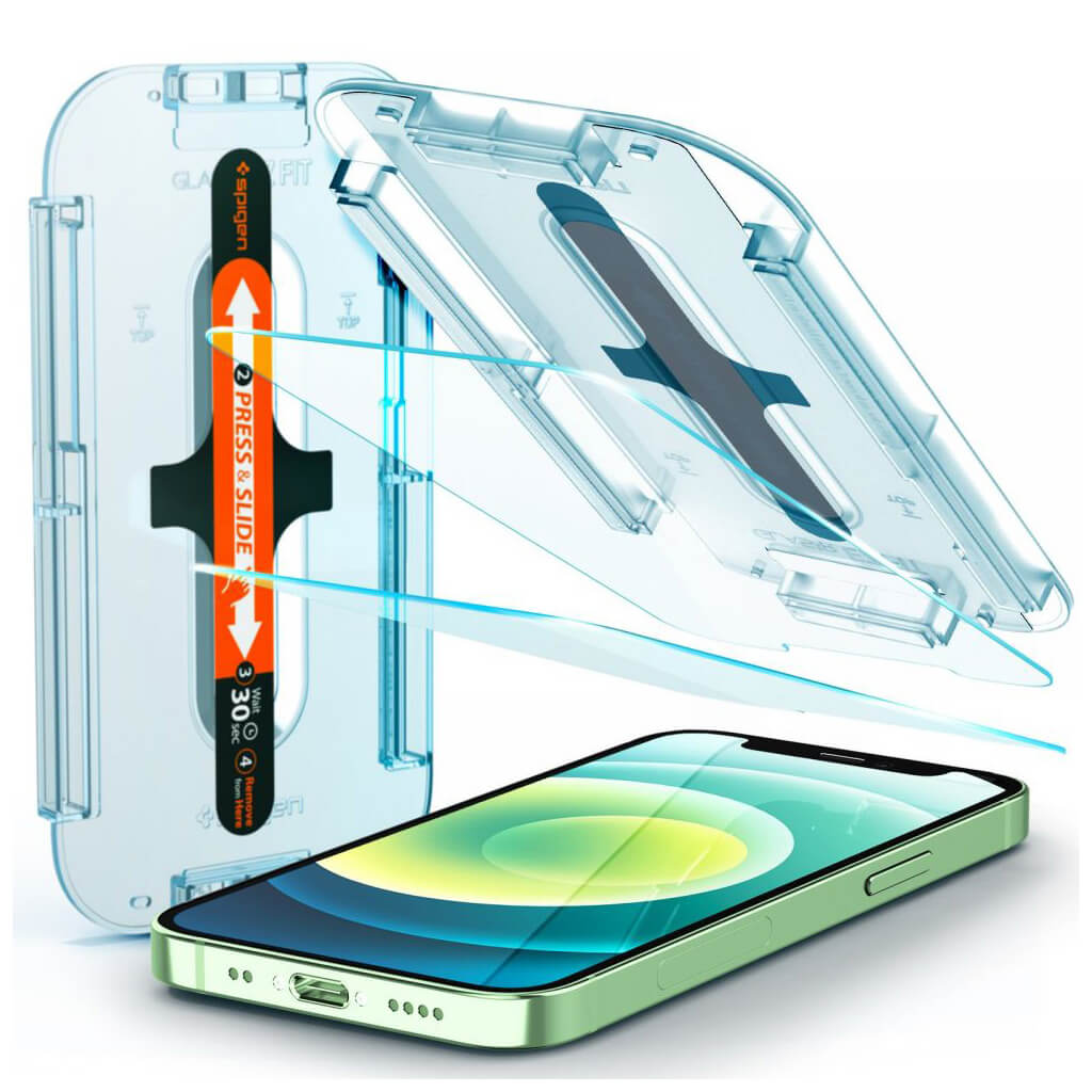 Spigen® x2Pack GLAS.tR™ EZ FIT™ HD AGL01811 iPhone 12 Mini Premium Tempered Glass Screen Protector