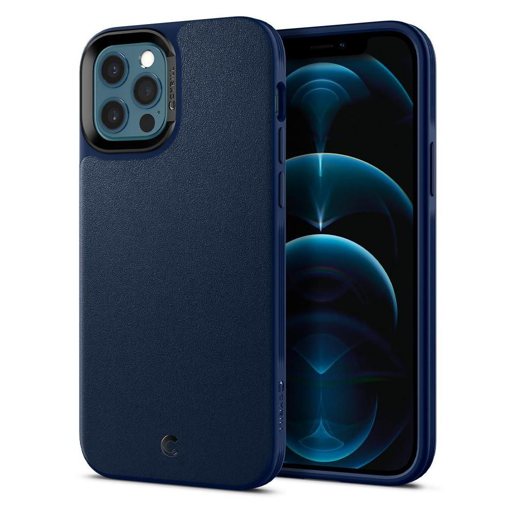 Spigen® Ciel by Cyrill Leather Brick Collection ACS01735 iPhone 12 / 12 Pro Case – Navy