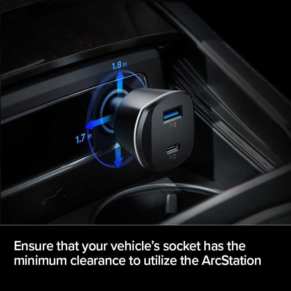 Spigen® ArcStation PC1800 PowerArc 000CG24748 USB-C & USB-A 30W Power Delivery 2-Port Car Charger - Black