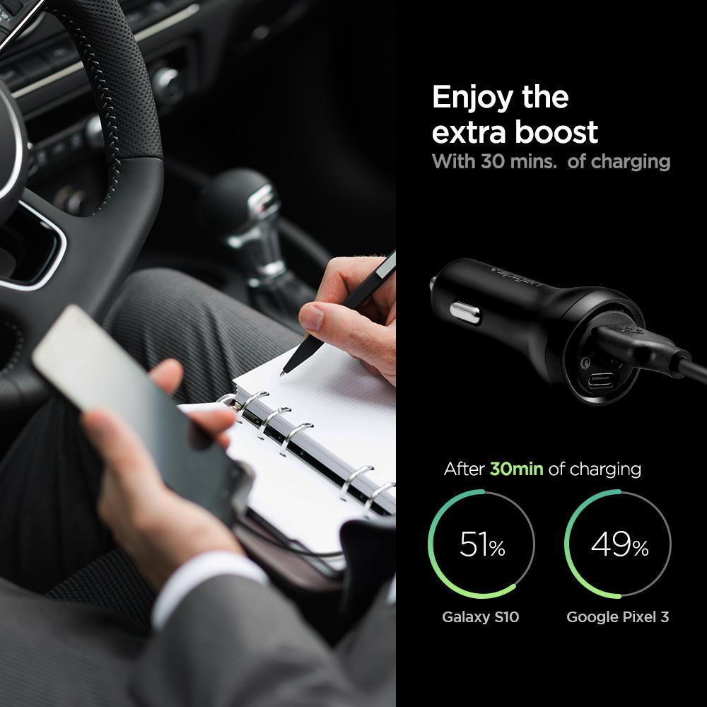 Spigen® Essential® F31QC 000CP25597 Qualcomm® Quick Charge™ 3.0 USB-C Total 45W Fast Car Charger - Black