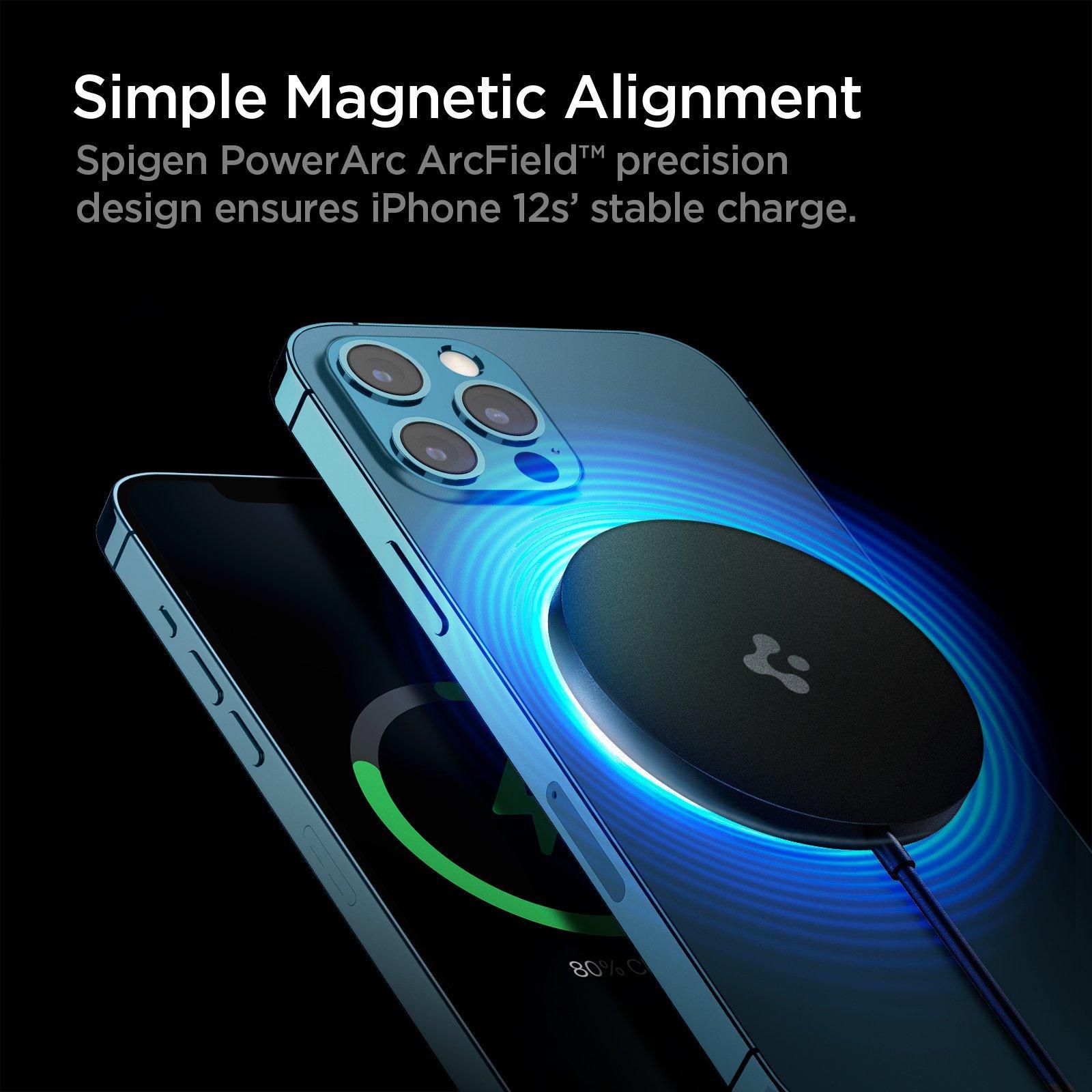 Spigen® PowerArc ArcField™ ACH02190 Magnetic Wireless MagSafe Charger - Black