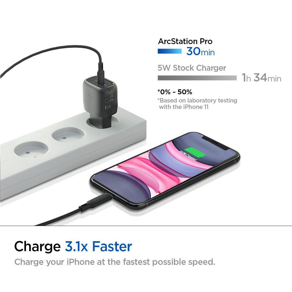 Spigen® PowerArc ArcStation™ Pro USB-C PD 3.0 20W / 3A Charger - Black