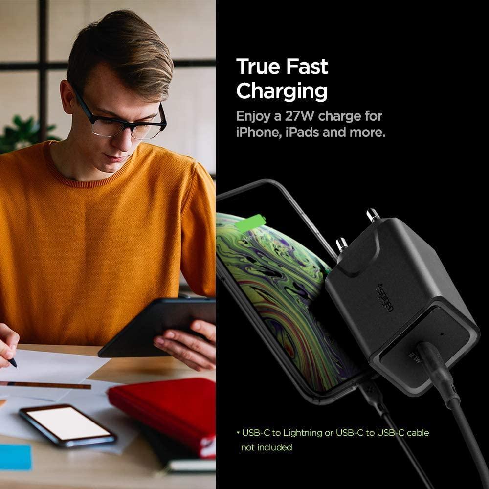 Spigen® Steadiboost™ F210(EU) 000AD24969 27W USB-C Power Delivery 3.0 Wall Fast Charger – Black