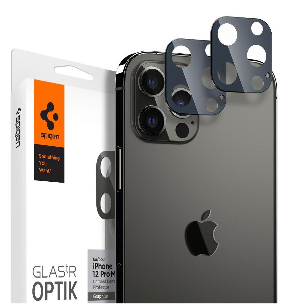 Spigen® (x2Pack) GLAS.tR™ Optik Camera Lens AGL02453 iPhone 12 Pro Max Premium Tempered Glass - Graphite