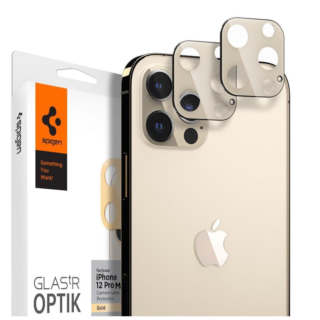 Spigen® (x2Pack) GLAS.tR™ Optik Camera Lens AGL02454 iPhone 12 Pro Max Premium Tempered Glass - Gold