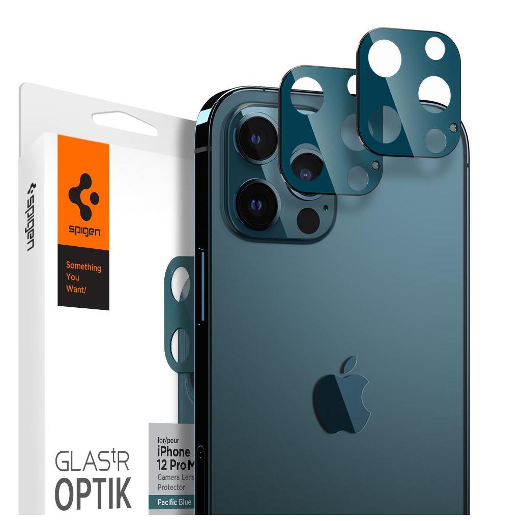 Spigen® (x2Pack) GLAS.tR™ Optik Camera Lens AGL02456 iPhone 12 Pro Max Premium Tempered Glass - Pacific Blue