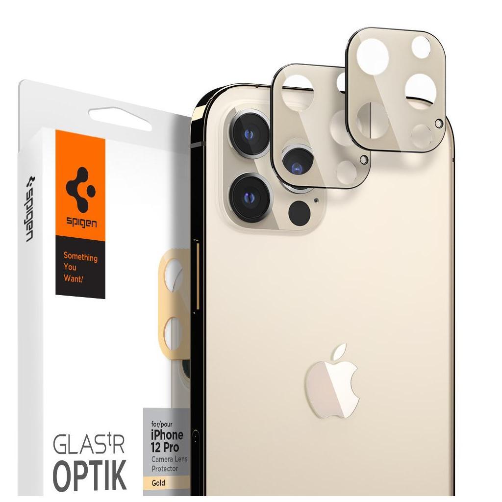Spigen® (x2Pack) GLAS.tR™ Optik Camera Lens AGL02458 iPhone 12 Pro Premium Tempered Glass – Gold