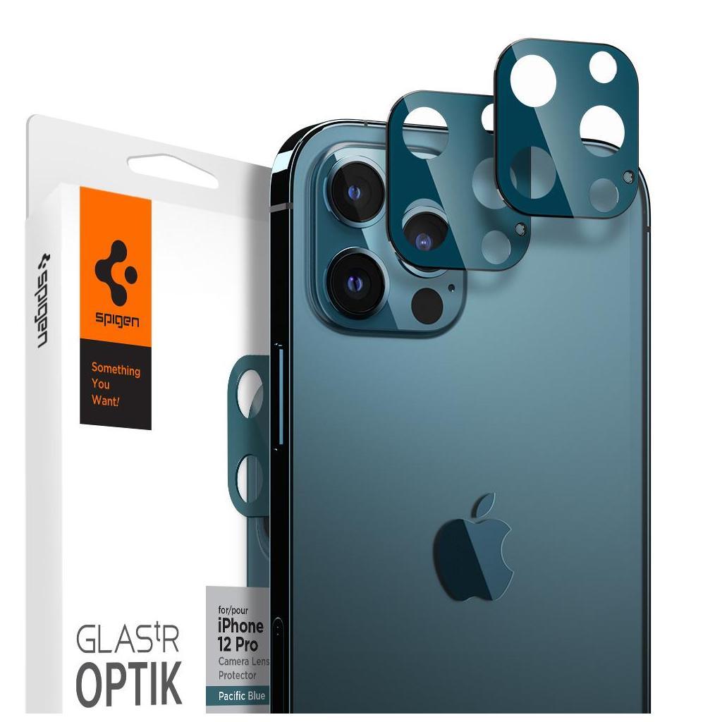 Spigen® (x2Pack) GLAS.tR™ Optik Camera Lens AGL02460 iPhone 12 Pro Premium Tempered Glass - Pacific Blue