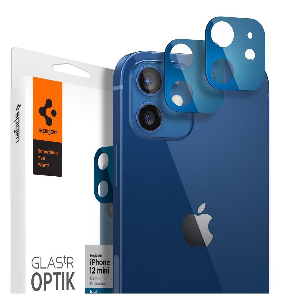 Spigen® (x2Pack) GLAS.tR™ Optik Camera Lens AGL02462 iPhone 12 Mini Premium Tempered Glass - Blue