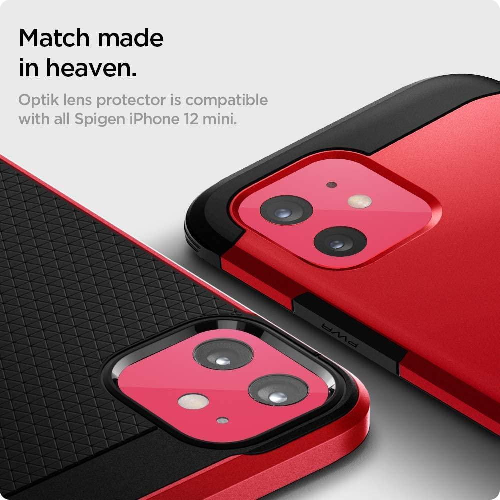 Spigen® (x2Pack) GLAS.tR™ Optik Camera Lens AGL02464 iPhone 12 Mini Premium Tempered Glass - Red