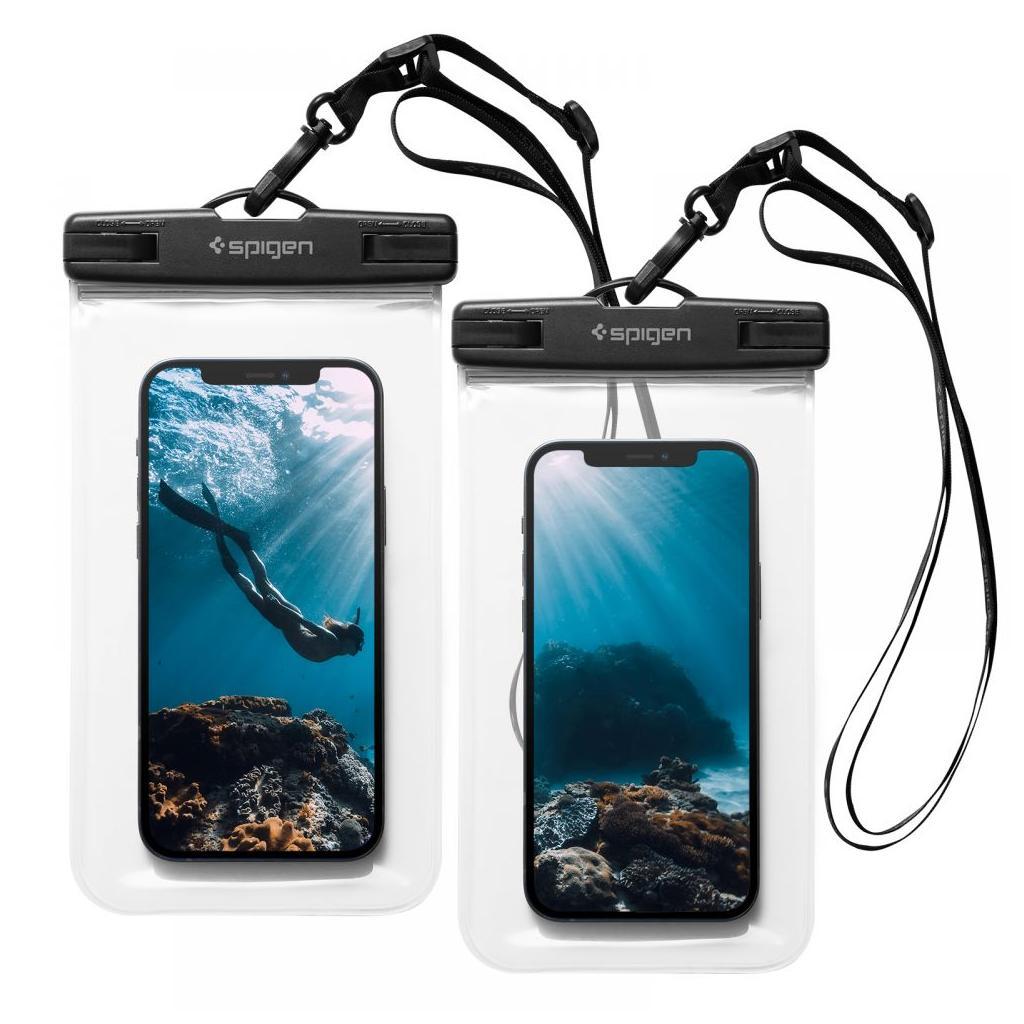 Spigen® (x2Pack) A601 Universal Waterproof Case - Crystal Clear