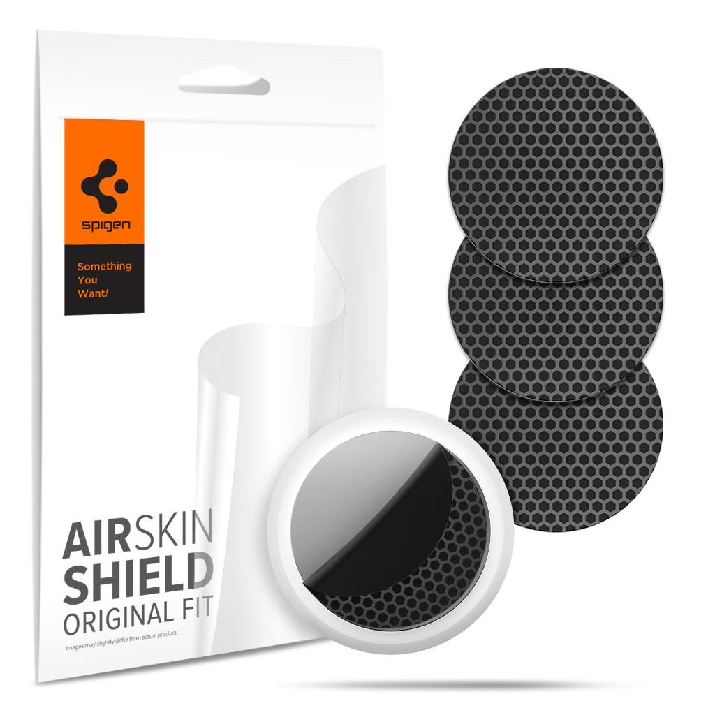 Spigen® (x4Pack) AirSkin Shield AFL03161 Apple AirTag Protective Film Hydrogel Foil – Carbon Black