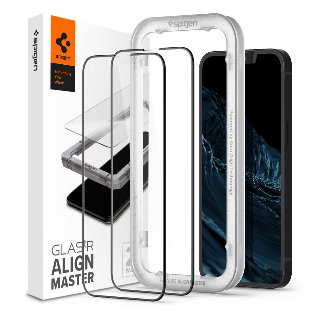 Spigen® (x2.Pack) GLAS.tR™ ALIGNmaster™ Full Cover HD AGL03398 iPhone 13 Mini Premium Tempered Glass Screen Protector